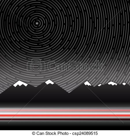 Vector Clip Art of Star Trails Vector Illustration with Mountains.