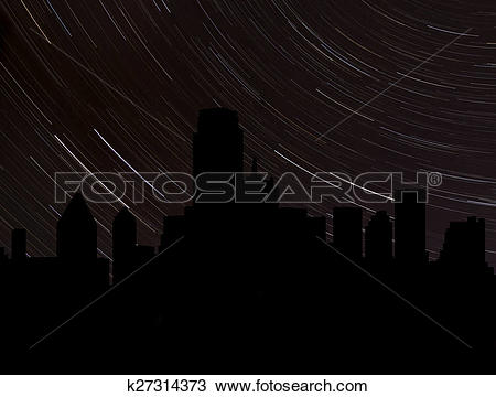Drawing of Dallas skyline silhouette with star trails illustration.