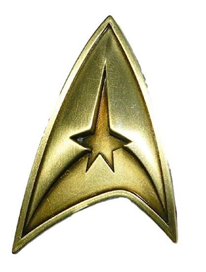 Star Trek Original Series Command Logo Brass Toned Badge Metal Pin.