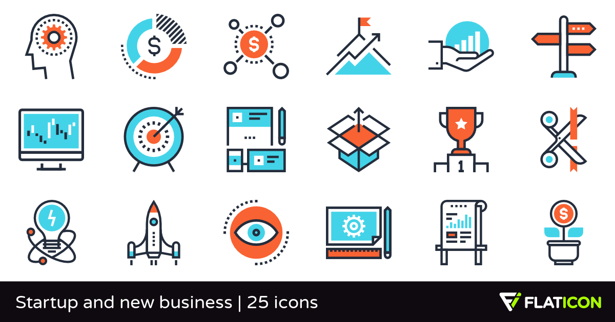 Startup and new business 25 premium icons (SVG, EPS, PSD.