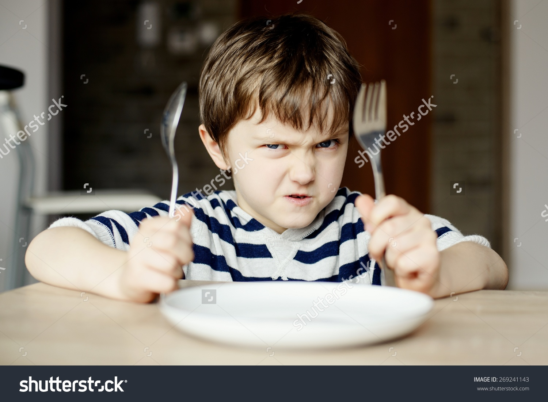 Furious Little Boy Waiting Dinner Holding Stock Photo 269241143.