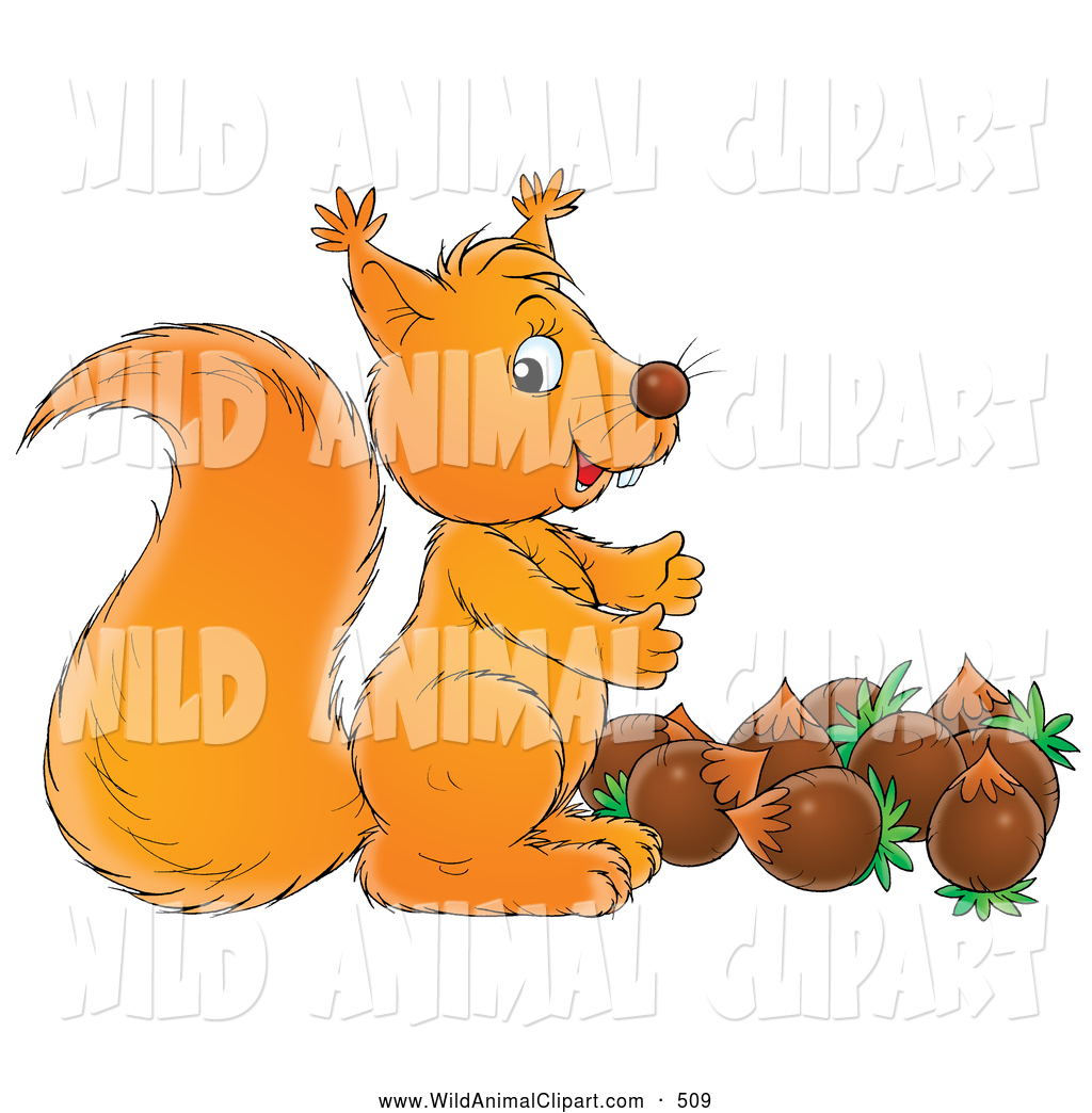 Clip Art of a Friendly Cute Squirrel Standing Above a Stash of.