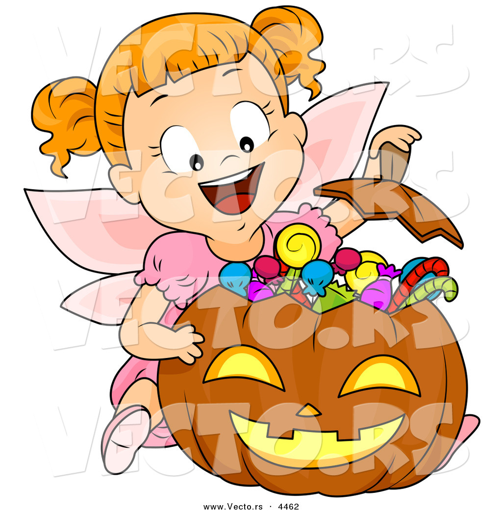 Vector of a Halloween Cartoon Girl in a Fairy Costume Witting.