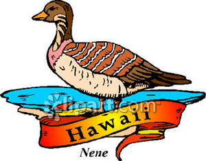 Bird of Hawaii, the Nene Goose Royalty Free Clipart Picture.