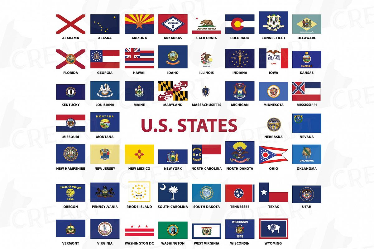 USA Capital and States flags Clip Art collection for Print.