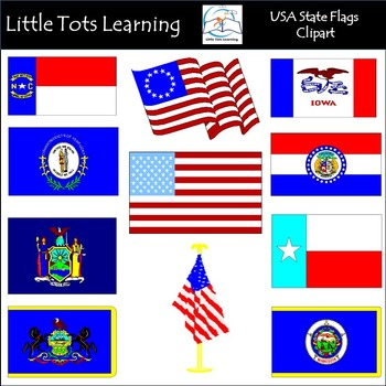 USA State Flags Clip Art: Flags of the US Clip Art.