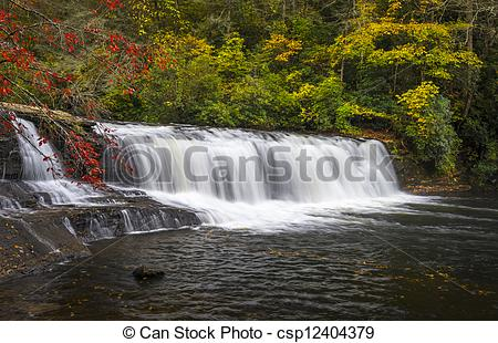 Picture of Hooker Falls Autumn Waterfalls Dupont State Forest NC.