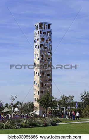 "Stock Images of ""Himmelssturmer lookout tower, Landesgartenschau."