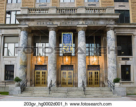 Stock Photo of The facade of the Alaska State Capitol building in.