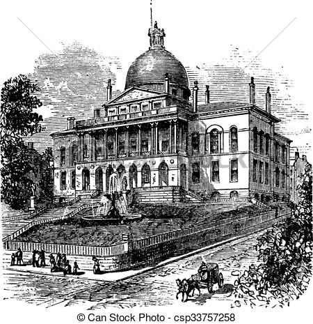 Clipart Vector of State House or Massachusetts State House or The.