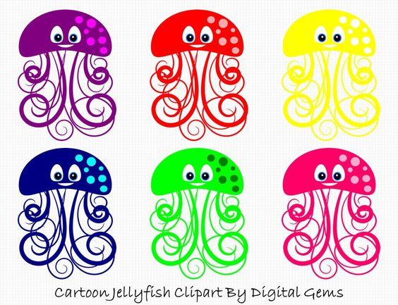 Jelly fish Clipart, Cute Cartoon Jellyfish Clip Art, Sea life.