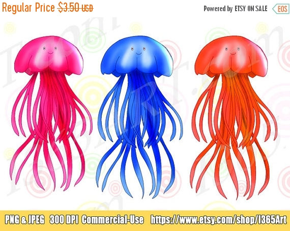 50% OFF Jellyfish Clipart Jellyfish clip art Sea Life.