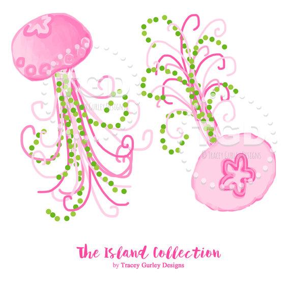 Preppy Jellyfish clip art Pink Jellies clip art Original.