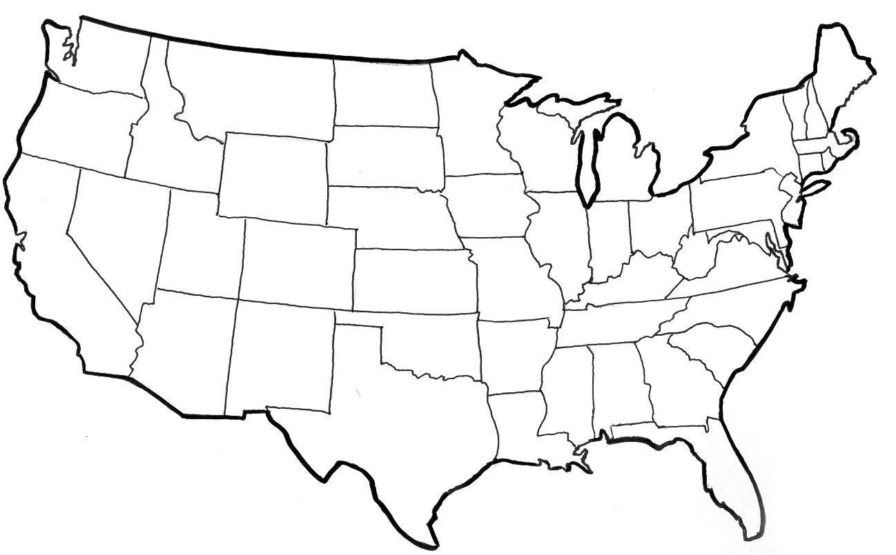 In Clipart Of United States Map State Borders Outline Blank.