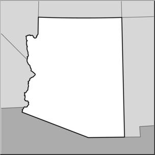 Clip Art: US State Maps: Arizona Grayscale I abcteach.com.