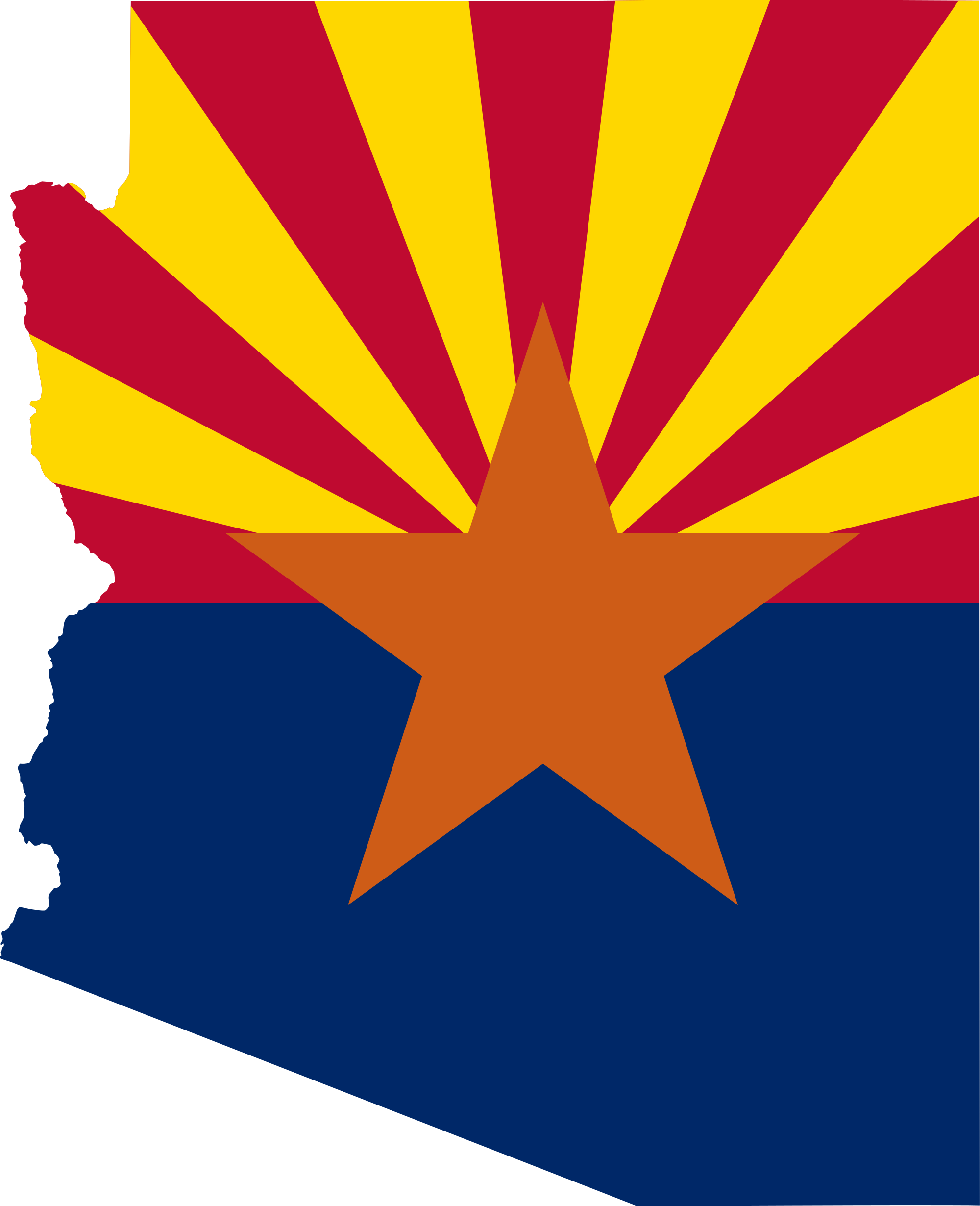 Arizona flag map.
