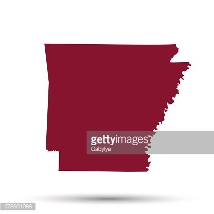 Map of the U.S. state of Arkansas Clipart Image.