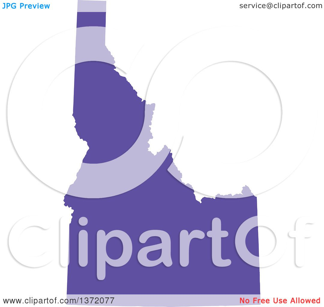 Clipart of a Purple Silhouetted Map Shape of the State of Idaho.