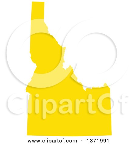Clipart of a Yellow Silhouetted Map Shape of the State of South.