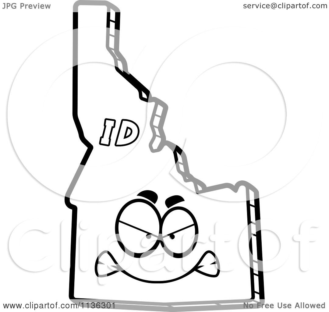 Cartoon Clipart Of An Outlined Mad Idaho State Character.
