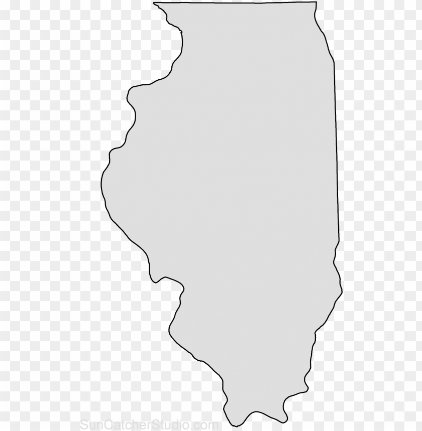 illinois map outline shape state stencil clip art scroll.