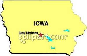 Map of Des Moins and the State of Iowa.