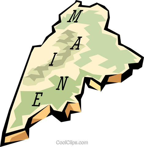 Maine state map Royalty Free Vector Clip Art illustration.