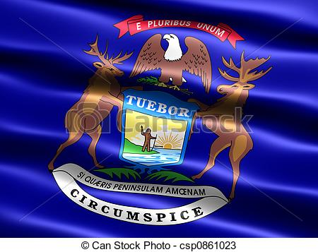 Drawings of State flag: Michigan.