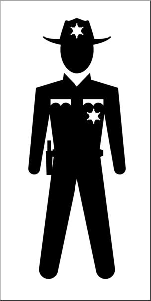 Clip Art: People: State Trooper Male B&W I abcteach.com.