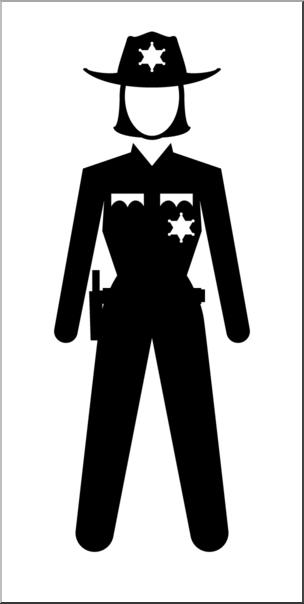 Clip Art: People: State Trooper Female B&W I abcteach.com.
