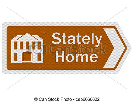 Clip Art of Tourist Information Series: Stately Home, isolated.
