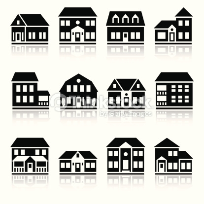 Twelve House Silhouettes Vector Art.