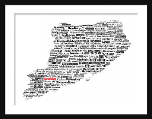 Staten Island New York Map Typography Map Poster by ParisPhotoShop.
