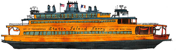 Staten Island Ferry John F. Kennedy: ship print / nautical by.