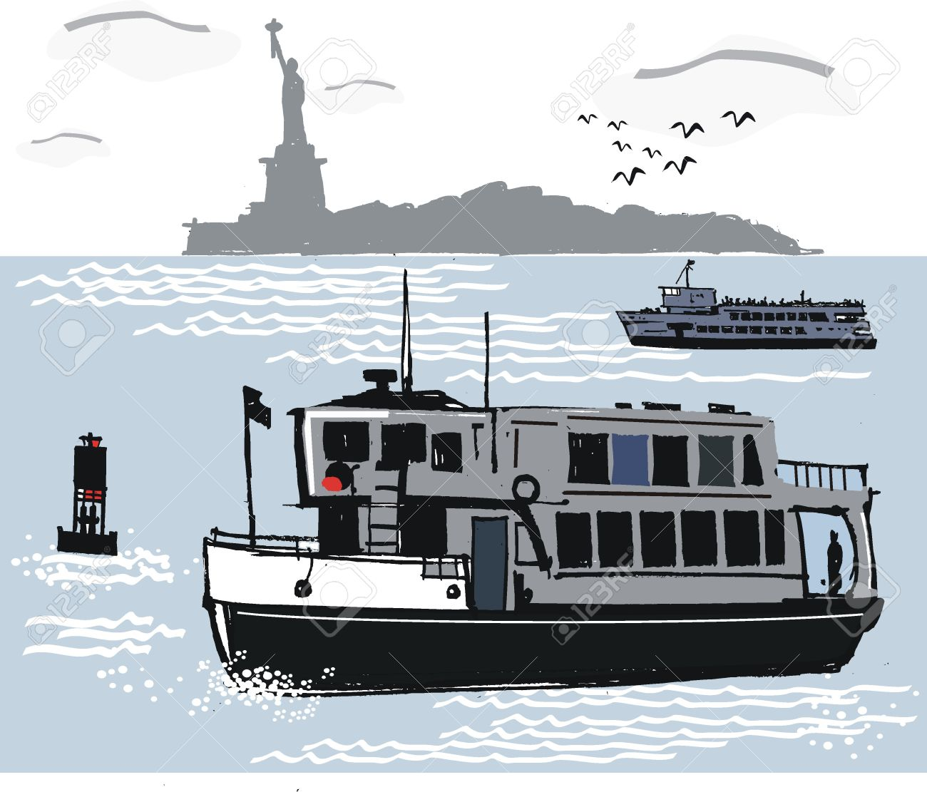 New York Ferry Illustration Royalty Free Cliparts, Vectors, And.