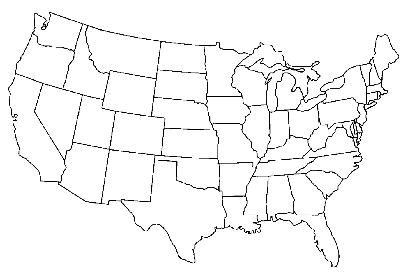 United states outline drawing clipart.