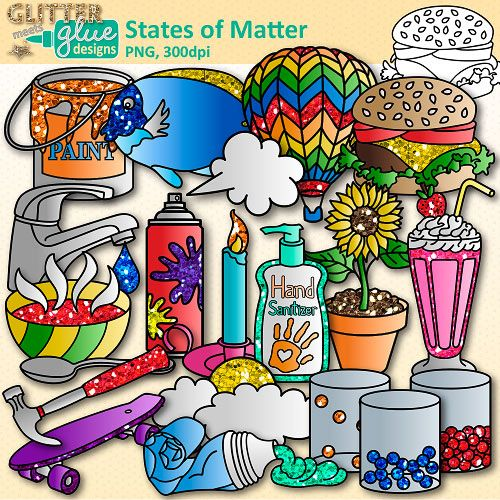 States of Matter Clip Art: Solids, Liquids, and Gases.