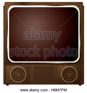 Old analogue television with static screen and brick wall Stock.