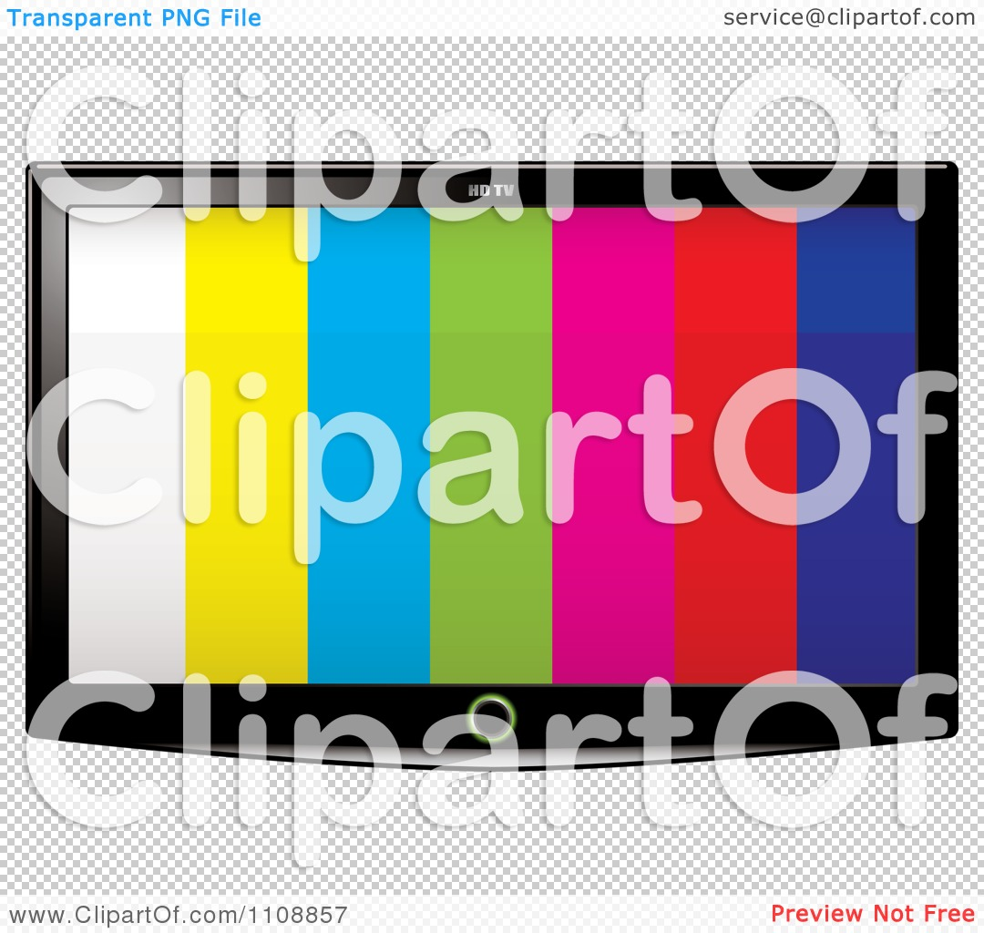 Clipart 3d Flat Screen Tv With Stripes On The Display.