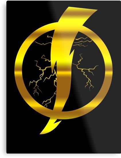 \'Static Shock Logo\' Metal Print by aeedesign.