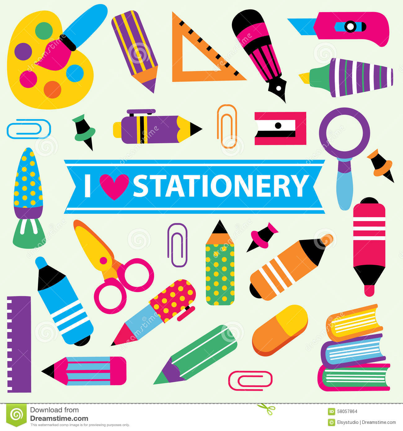 Stationery Clip Art Set Stock Vector.