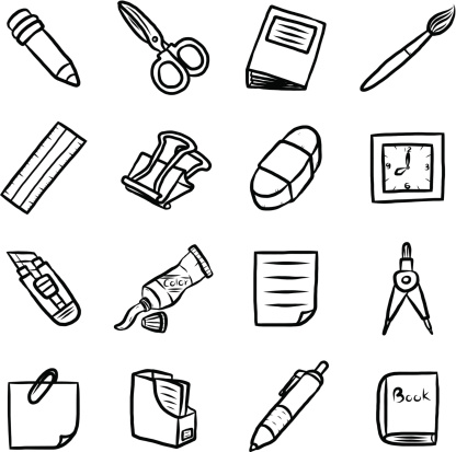 Vector Clip Art Black And White Stationary Sketch Coloring.