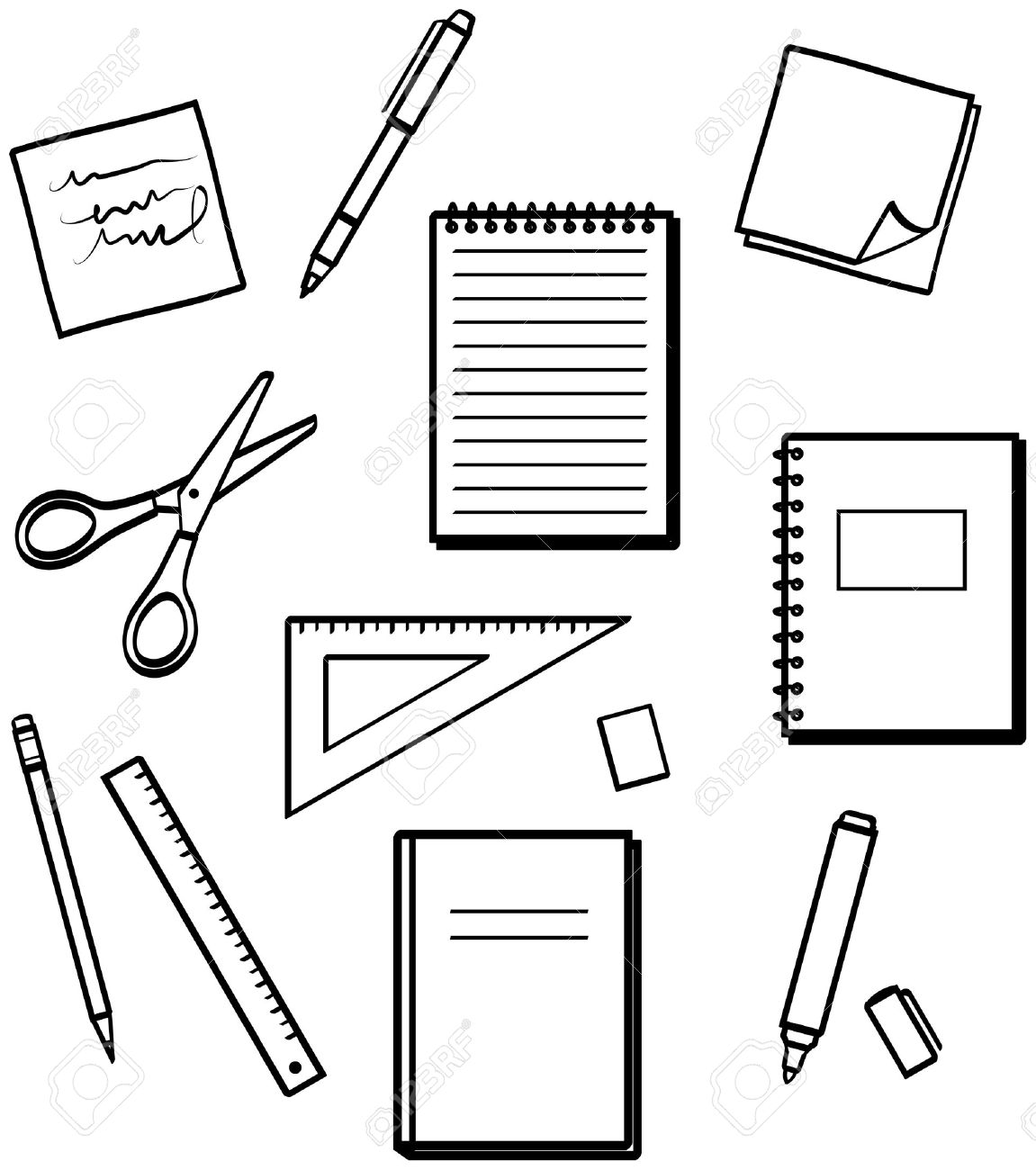 School Stationery Clipart Black And White.