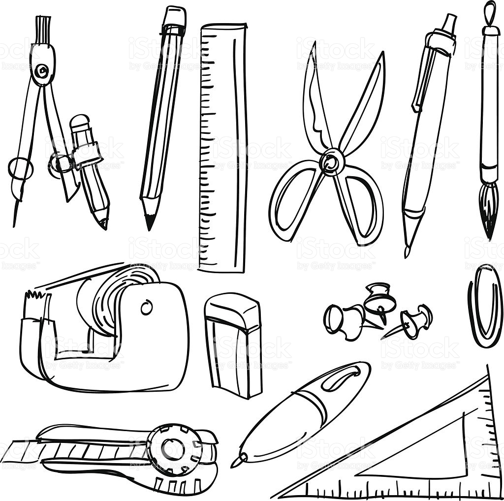 Stationery clipart black and white 1 » Clipart Station.