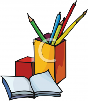 Stationery Items Clipart.