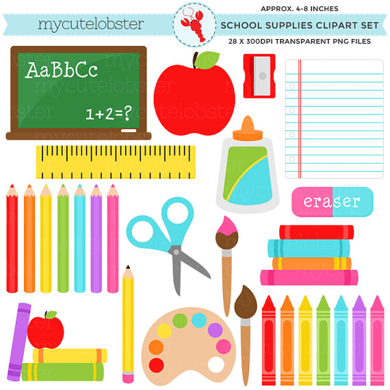 School Supplies Clipart Set stationery by mycutelobsterdesigns.