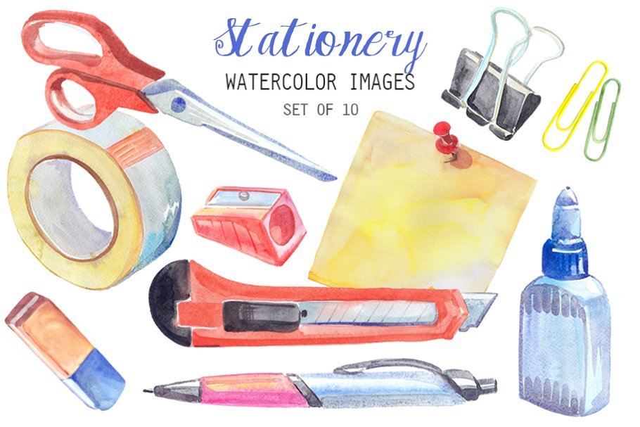 Watercolor Stationery Clipart.