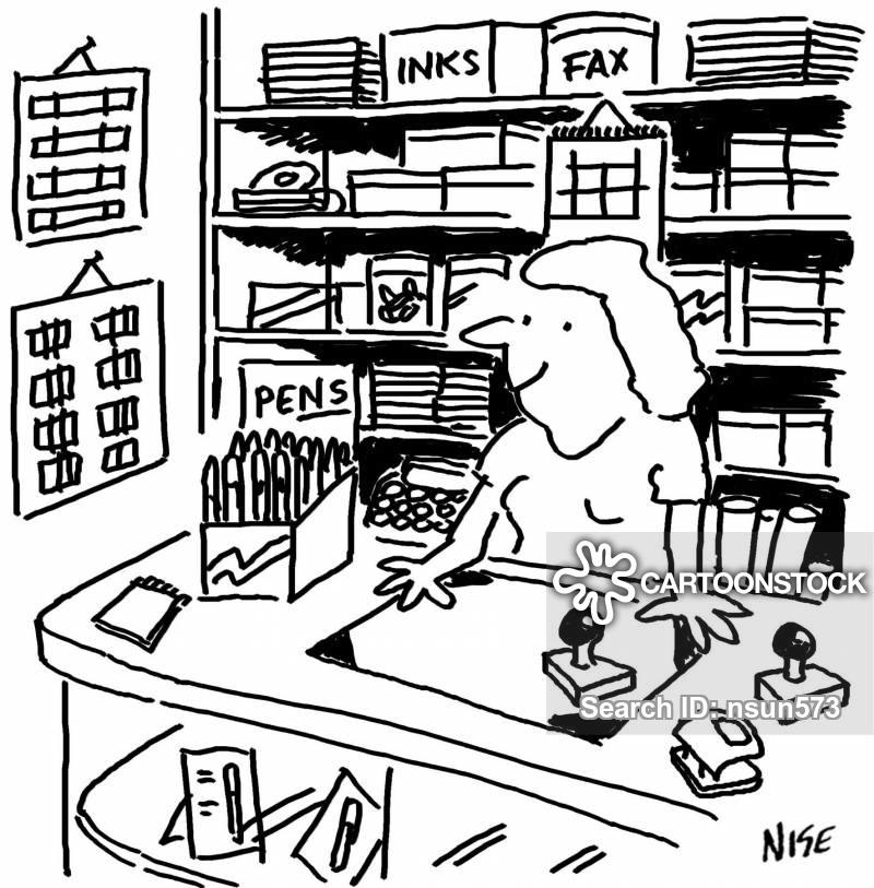 Stationary Shop Cartoons and Comics.