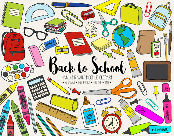 Clipart Of School Stationery.