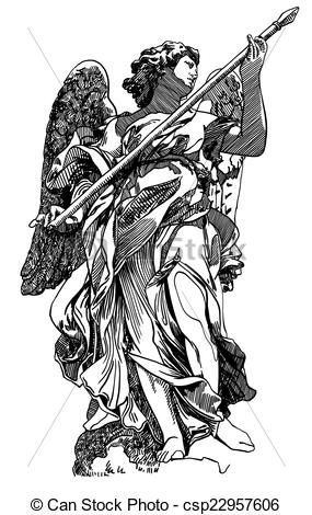 Vector Clipart of original sketch digital drawing of marble statue.
